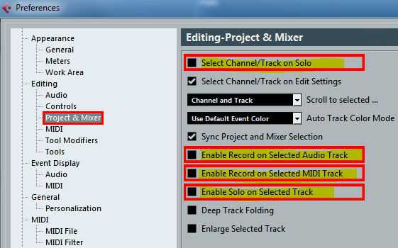 Preferences Editing Project & Mixer